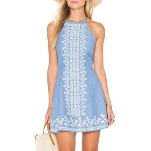 TULAROSA Otto chambray embroidered halter dress M
